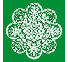 Victorian Ceiling Rose / Doily Pattern - Green & White Photographic Print