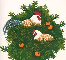 Cockerels in orange tree by Edmund Hodges