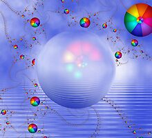 Rainbow Sphere on Blue Lake by Pam Blackstone