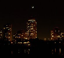 Moon over Etobicoke Condos............. by Larry Llewellyn