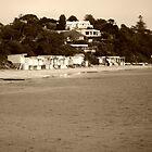 Beach houses at Sorento   - Victoria - Australia  -  sepia by lighthousecove