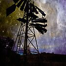 Broken Wind Mill under the night sky by Andrew (ark photograhy art)