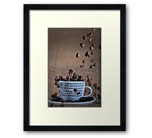 Coffee beans rain Framed Print