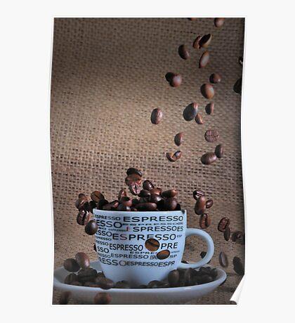 Coffee beans rain Poster