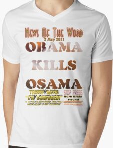 Obama Kills Osama T-shirt Design Mens V-Neck T-Shirt