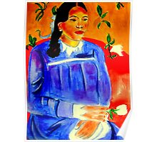 Woman with Flower Poster