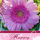 Birthday Card With Pink and Yellow Flowers by Moonlake