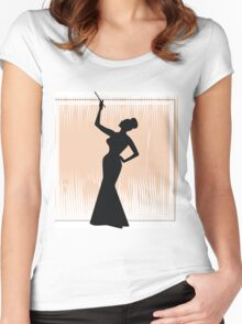 sexy girl silhouette with a cigar Women's Fitted Scoop T-Shirt