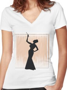 sexy girl silhouette with a cigar Women's Fitted V-Neck T-Shirt