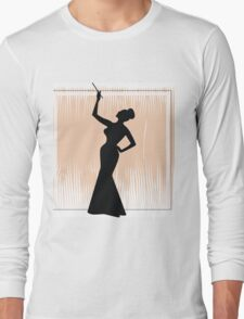 sexy girl silhouette with a cigar Long Sleeve T-Shirt