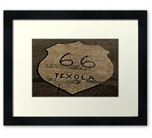 Route 66 Texola Road Symbol Historic Route 66 Framed Print
