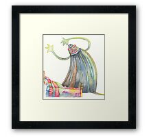 "The monster, illustration of the story ""backpack""  Framed Print"