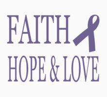 Faith Hope & Love All Cancers Lavender Ribbon  Baby Tee