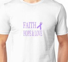 Faith Hope & Love All Cancers Lavender Ribbon  Unisex T-Shirt