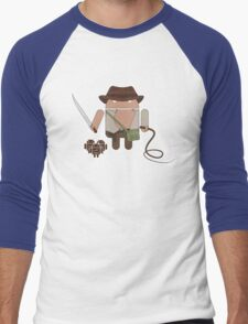 Indiana Jones and the Temple of Droid (No Text) Men's Baseball ¾ T-Shirt