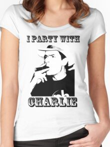 I Party With Charlie Women's Fitted Scoop T-Shirt