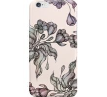 purple vintage floral seamless pattern with hand drawn flowering crocus iPhone Case/Skin