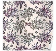 purple vintage floral seamless pattern with hand drawn flowering crocus Poster