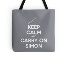 Keep Calm and Carry On Simon (White Text) Tote Bag