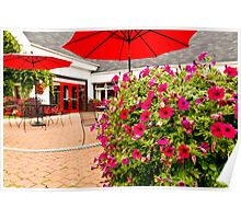 Red Pansies and Umbrellas Glenora Distillery Poster