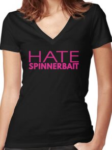 Hate Spinnerbait (Pink Text) Women's Fitted V-Neck T-Shirt