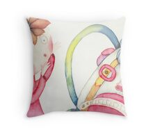 "backpack scary, illustration of the story ""backpack""  Throw Pillow"