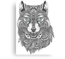 Very Intricate Wolf Illustration Canvas Print