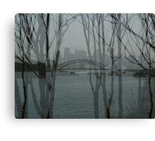 Sydney harbour bridge through trees Canvas Print