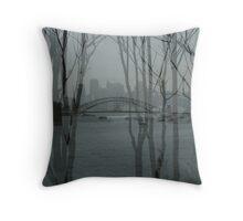 Sydney harbour bridge through trees Throw Pillow