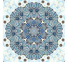 Blue Ice Fllowers Mandala Kaleidoscope Photographic Print