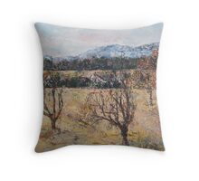 apricot orchard and pyrenees Throw Pillow