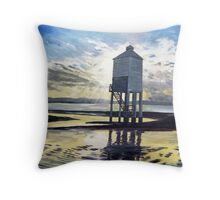 """Candle on the Water"" - Beach Lighthouse, Burnham-on-Sea, Somerset Throw Pillow"