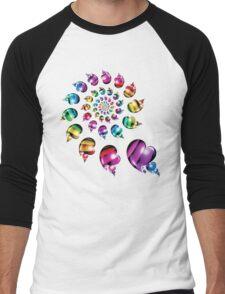 Rainbow Heart Wheel Men's Baseball ¾ T-Shirt