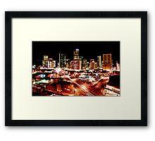 Denver Skyline at Night from Park Ave Framed Print