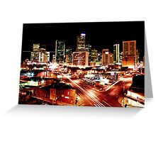 Denver Skyline at Night from Park Ave Greeting Card