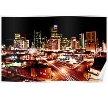 Denver Skyline at Night from Park Ave Poster