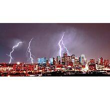 Denver Skyline Lightning Storm Photographic Print