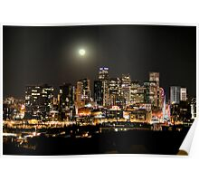 Full Moon over Downtown Denver Skyline at Night HDR Poster