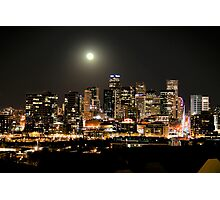 Full Moon over Downtown Denver Skyline at Night HDR Photographic Print