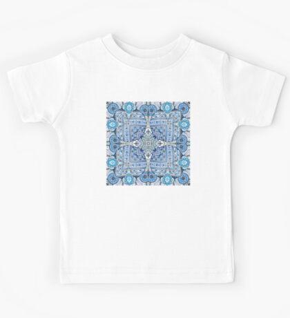 Blue flowers mandala  kaleidoscope Kids Tee