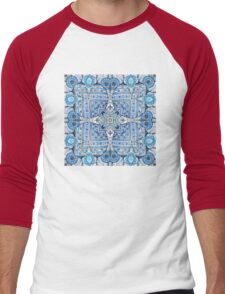 Blue flowers mandala  kaleidoscope Men's Baseball ¾ T-Shirt