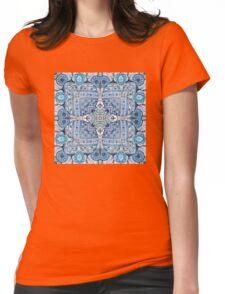 Blue flowers mandala  kaleidoscope Womens Fitted T-Shirt