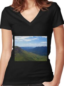 Elysian Rock Lookout - Blue Mountains Women's Fitted V-Neck T-Shirt