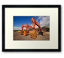 Excavators. Framed Print