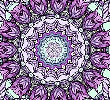 watercolor lily kaleidoscope mandala by Sviatlana Kandybovich