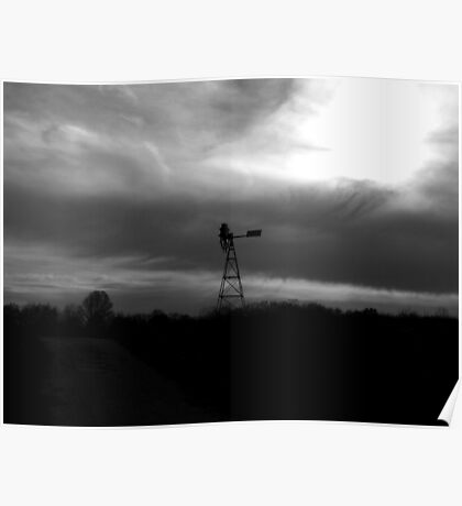 Windmill with stormy sky Poster