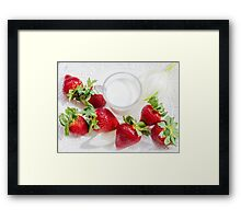 strawberry and glass of milk on white plate Framed Print