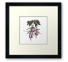 branches pink and purple fuchsia.Hand draw  ink and pen, Watercolor, on textured paper Framed Print