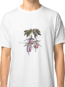 branches pink and purple fuchsia.Hand draw  ink and pen, Watercolor, on textured paper Classic T-Shirt