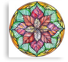 Christmas mandala.Hand draw  ink and pen, Watercolor, on textured paper Canvas Print